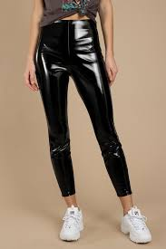 roxy black high waisted faux patent leather leggings