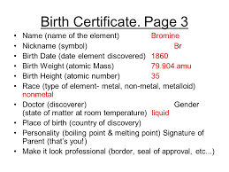 Element Birth Certificate Sample Element Baby Book Ppt Video Online Download