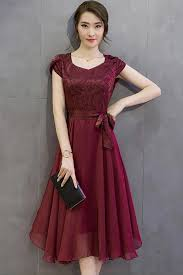Tomcarry Women Silk Printed Top Bow Waist Prom Dress Red Vine