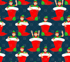 Gifts Background Christmas Stocking And Santa Elf Pattern Little Claus Helper Ornament Traditional Holiday Xmas Sock For Gifts Background Stock Vector Image