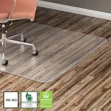 lorell hard floor 60 rectangular chairmat hard floor wood floor vinyl floor tile floor 60 length x 46 width x 95 mil thickness rectangle vinyl
