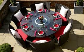 round patio dining table wicker