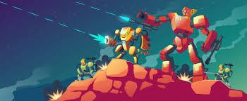 robot war on alien planet vector demo 24
