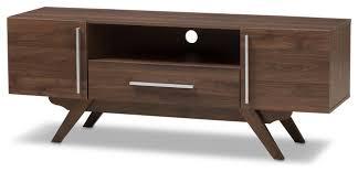 ashfield mid century modern walnut brown finished wood tv stand