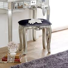 Mirrored Bed Stand Mirror Finish Furniture Glass Bedroom Dresser