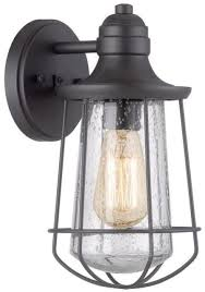 valdara 11 5 in h black outdoor wall light wired metal cage etl listed classic