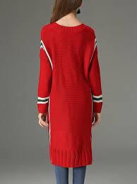 Plain Long Sleeve V neck Cotton Casual Sweater Dress. Quick Shop