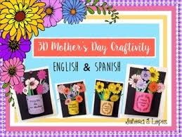 Paper Flower Pots Mothers Day Craft 3 D Paper Flower Pot English Spanish