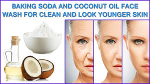 baking soda and coconut oil face wash for clean and look younger skin you