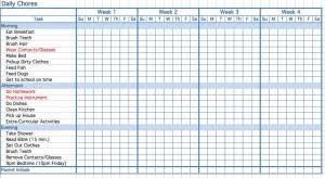 Printable Childrens Chore Chart Template Printable