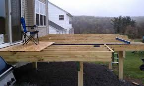 a freestanding deck will have an additional beam near the house and no ledger board free standing was chosen here due to only a small area next to the deck