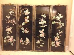 Oriental Wall Art Asian Oriental Set 4 Black Lacquer Mother Peral Wall Art  Hanging Panels Decor