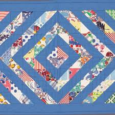 127 best vintage flour and feed sack quilts images on Pinterest ... & Doll Quilt - Triangle-squares rotate this way and that to create the  overall diamond pattern. A variety of feed sack prints are held together  visually by ... Adamdwight.com