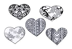 Easy stripe pattern heart coloring pages for kids. Hearts Coloring Pages Set Graphic By Capeairforce Creative Fabrica