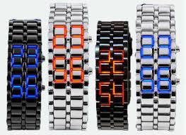 <b>Hot Sale Black Silver</b> Lava Led Display Watch Iron Samurai ...