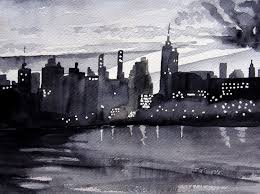 notes watercolor new york city skyline gorgeous contrast combining two things i want