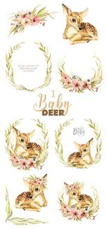 <b>Little Baby Deer</b>. Watercolor animal clipart floral wreath | Etsy ...