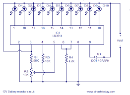 12v battery level indicator led dot bargraph display circuit diagram of battery level indicator using lm3914 battery