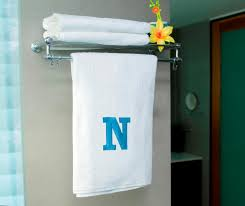 bath towel. Picture Of HomeStrap Alphabets White Bath Towel - N By