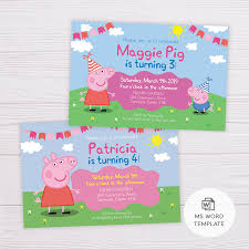 Word Template For Invitation Peppa Pig Invitation Template In Ms Word
