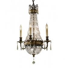 bellini period style 4 light chandelier in bronze with antique crystal