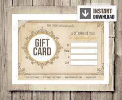 Photography Gift Certificate Template Gift Card Certificate Template For Photographers Vintage Ornate