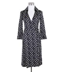 Diane Von Furstenburg Black White Purple Silk Wrap Dress Sz 4