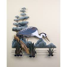 >fishing great white heron metal wall art