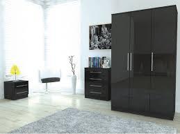 details about piece high gloss wood bedroom furniture set wardrobe black bedroom furniture set