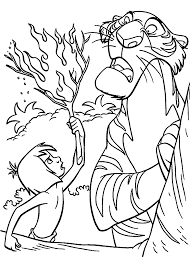 Small Picture Mowgli and Shere Khan The jungle book coloring pages for kids