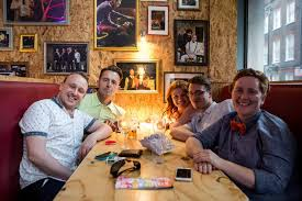 soho theatre bar customers in booth daytime