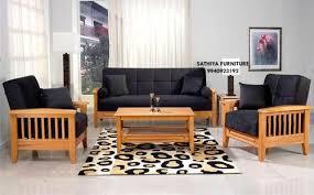 brown blue modern teakwood wooden sofa set by