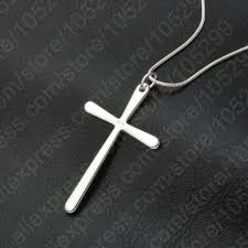 mens womens 925 sterling silver cross pendant 18 snake chain necklace n56 for