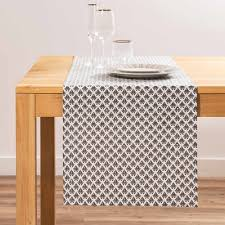 patterned grey cotton table runner l