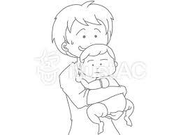 お父さんと赤ちゃん 線画イラスト No 1485189無料イラストなら