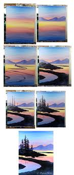 peaceful pines process winding river painting step by step