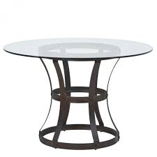 vancouver round dining table in auburn bay finish and 48 glass top