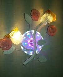 pink rose and two glass lamp multi color led light wall lamp