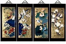 Amazon.com: Set Of 4 Oriental Lacquered Painting Wall Art Plaques (Four  Seasons) SM: Home & Kitchen