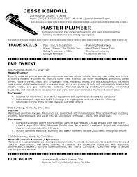 cv for plumber