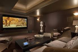 Living room, Media Room Paint Home Theater Contemporary With Chocolate  Brown Table Lamp Shadowood Theater