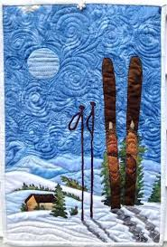 88 best Sports theme quilts images on Pinterest | Contemporary ... & Winter art quilt : skiing under the moon Adamdwight.com