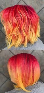 Fire Rainbow Hair Color Bob Hairstyle
