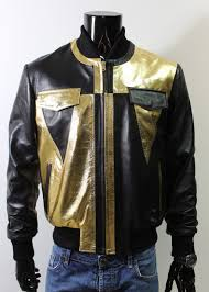 black metallic gold men genuine er leather jacket