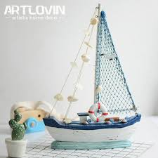 Boat Decor Accessories Adorable Nautical Style Mediterranean Decoration Wood Sail Boat Miniature