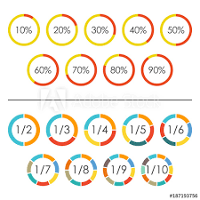 Pie Chart With 10 Sections Circle Chart Set With Percentage And Pie Chart Set With 2 3