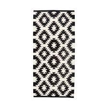 em home hubsch black rug runner geometric white