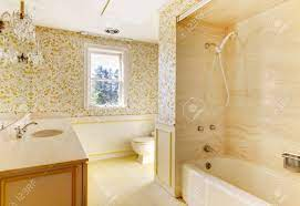 Wallpaper And Shower Tub. Stock Photo ...