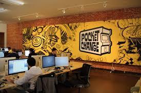 office graffiti wall. jurne graffiti mural for pocktchange san francisco office wall