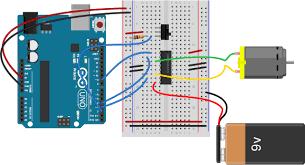 lab dc motor control using an h bridge itp physical computing breadboard drawing of an arduino connected to an h bridge to control a dc motor